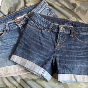 A pair of jean shorts